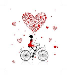 reducida mujer bici corazones